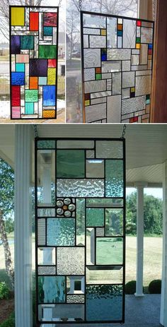 Modern Stained Glass Panels, Hanging Stained Glass, Stained Glass Designs, Stained Glass Projects, Stained Glass Patterns, Stained Glass Art, Stained Glass Windows, Art Nouveau, Mosaic Diy