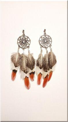 Boucles d'Oreilles dreamcatcher et plumes naturelles : Boucles d'oreille par aliciart