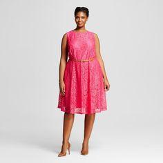 Women's Plus Size Sleeveless Lace Dress w/ Belt