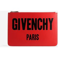 Givenchy Givenchy Iconic Print Pouch Medium (1 385 PLN) ❤ liked on Polyvore featuring bags, handbags, clutches, red, givenchy, givenchy handbags and givenchy purse