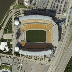 Heinz Field; Pittsburgh, Pennsylvania -- Heinz Field has been the home to the Pittsburgh Steelers and University of Pittsburgh Panthers American football teams since 2001. Attendance for the 65,050 seat stadium has sold out for every Steelers home game since 1972. It stands along the Ohio River and was designed with the city of Pittsburgh's history of steel production in mind, which led to the inclusion of 12,000 tons of steel into the design. Read more at our web page.