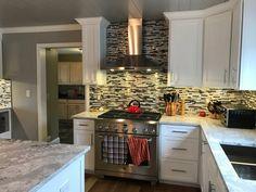 Modern Random Mix Steel - Glass II Tile for Backsplash & Wall Fireplace Surrounds, Fireplace Design, Tile Installation, Kitchen Photos, Black Stainless Steel, Bathroom Wall, Kitchen Backsplash, Mosaic Tiles, Kitchen Remodel