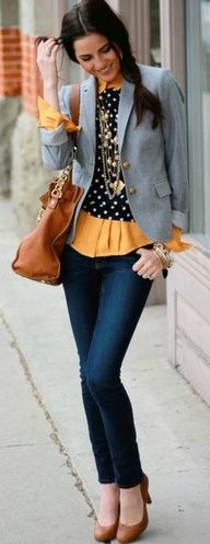 Polka dot sweater with pop of yellow