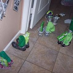 This lady planned the cutest St. Patrick's Day with sneaky leprechauns that played tricks all over her house.