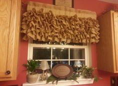 No Sew Burlap Curtains | Photo Gallery of the Bamboo Burlap Valance for Your Room Windows