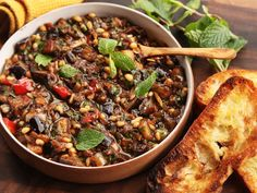 Caponata, the Sicilian dish of eggplant and other vegetables sautéed in a sweet and sour sauce
