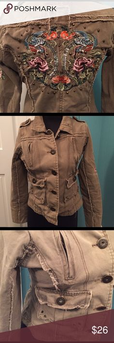 Romeo & Juliet Couture embellished jacket Great condition. Embroidery and sequins on back and down one sleeve. Army color. Button closure Romeo & Juliet Couture Jackets & Coats Jean Jackets