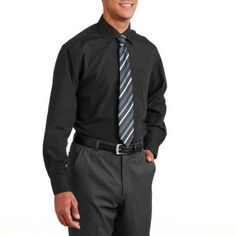 Men's Solid Dress Shirt with Matching Tie, Size: Medium, Black