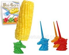 Unicorns, mythological beings of light and magic or perfectly adapted holders of corn?  With these exquisitely sculpted horned ponies, you can have your corn and eat it too!  Uni-Corn Corn Holders will be a fantastical addition to your next corn-eating festivity.  This set comes with 4 pairs of unicorns, two for each cob.  Dishwasher safe.