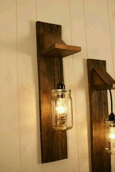 Pair of Mason Jar Chandelier Wall Mount Fixture -- Mason Jar Lighting - Upcycled Wood - Mason jar pendant Mason Jar Light Fixture, Mason Jar Chandelier, Mason Jar Lighting, Light Fixtures, Jar Lamp, Pallet Crafts, Pallet Projects, Home Projects, Diy Pallet