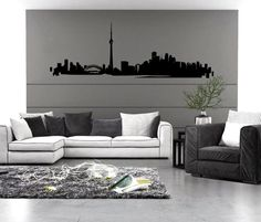 Toronto Skyline Wall Decal sticker vinyl decor mural car bedroom kitchen art van & Toronto Skyline Wall Vinyl Decal   Pinterest   Wall decals Toronto ...