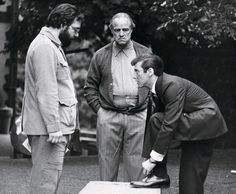 """Francis Ford Coppola, Marlon Brando and Al Pacino on the set of """"The Godfather"""""""