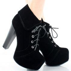 Black Suede Cuff Lace Up Women Hidden Platform Chunky High Heel