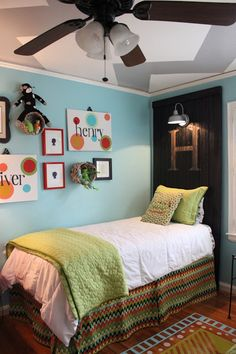 Great idea for a boys room! Love the chevrons on the ceiling.
