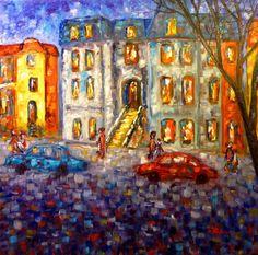 Cityscape - Street in Montreal - Impressionism (Original SOLD - USA), Cristina Stefan
