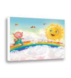 Canvas Art - Nursery Art - Piglet - Farm Animal - Colorful Rainbow - Childrens Wall Decor - Baby Wall Art - Toddler Room Decor - Giclee Print by PinwheelCanvasArt on Etsy