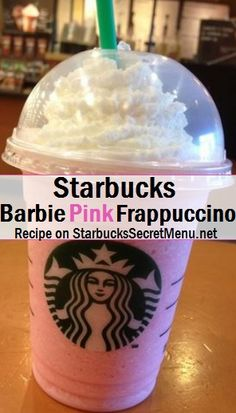 Starbucks Barbie Pink Frappuccino! #starbuckssecretmenu How to order: http://starbuckssecretmenu.net/starbucks-secret-menu-barbie-pink-frappuccino/