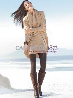 100% Cashmere Cowl Neck Draped Sweater-Cashmere 1873.COM