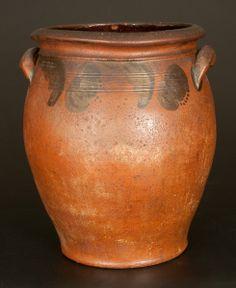 JOHN BELL / WAYNESBORO Ovoid Redware Jar with Brushed Manganese Floral Decoration -- March 1, 2014 Stoneware Auction by Crocker Farm, Inc.
