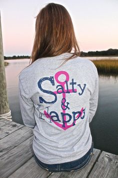 Awesome local Atlantic Beach NC artist... Salty Girl Designs - Barnacle Gray, Salty and Happy Long Sleeve Tee,