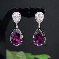 Amethyst Swarovski Crystal Bridesmaid earrings, party earrings from EarringsNation