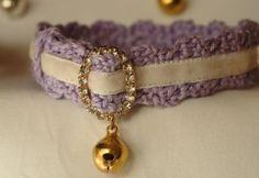 Handmade crochet cat collar velvet ribbon by MehlBoutique on Etsy