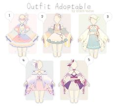 [CLOSED] Sweet Japanese Outfit Adopts | Auction by Black-Quose