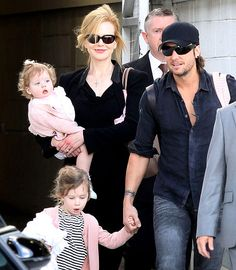 Keith Urban and Nicole Kidman with their children.