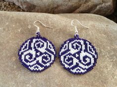 Round Purple Southwest Peyote Beaded Earrings by DoubleACreations on Etsy