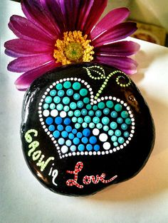 Hand Painted Beach Stone by Miranda Pitrone Grow in Love  I hand pick all of these stones myself from the beach. Mostly from the shores of Lake