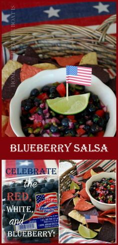 Celebrating the Red, White, and Blueberry  with Blueberry Salsa! Fresh, flavorful, healthy and comes together quickly for patriotic noshing on Independence Day! Rice Chips of Course. or Non Gluten