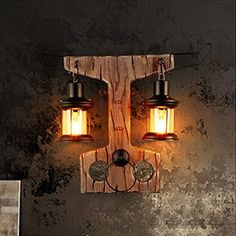 Loft Industrial Style Restaurant Bar kreative Tau Holz Wand Lampe Retro Nostalgie Wohnzimmer Studie Schlafzimmer Nachttischlampe 64 * 49 Cm Restaurant Bar, Glass Art, Lamps, Wall Lights, Industrial, Living Room, Retro, Lighting, Bottle