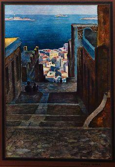 πίνακας, Άνω Σύρος, Σύρος - .painting of Ano Syros, Syros , Greece