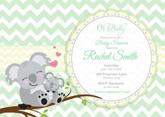 Green Chevron and Yellow Koala Bear Baby Shower Invitation by CuddleBugInvitations