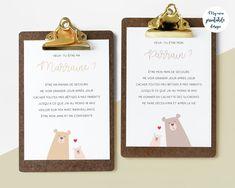 Cartes demande parrain marraine à imprimer | Etsy Printable Designs, Printables, Place Card Holders, Etsy, Baby 3 Announcement, Pregnancy Announcement Cards, Baby Arrival, Print Templates