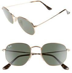 Women's Ray-Ban 51Mm Hexagonal Flat Lens Sunglasses - Metal Gold/ Green #sunglasses #womens #summer