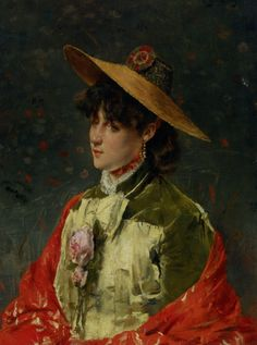 Woman In a Straw Hat. Alfred Stevens
