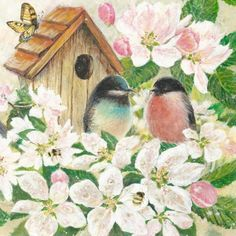 BIRDS AND BLOSSOMS DECOUPAGE NAPKIN BEAUTIFUL Blue and Red breasted birds, apple blossoms