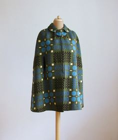 Vintage wool cape coat. Forest green and blue boho tapestry cape. 1970s. M/L