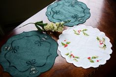 Doilies, Christmas Doilies Lot of Three, Vintage Holiday doilies, Vintage decor, Christmas Bells and Holly, Round doilies, Lot of Doilies, by MAISONDELINGE on Etsy