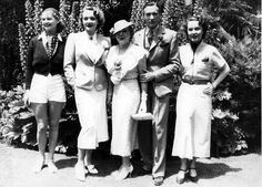 At a party given by Countess Dorothy Di Frasso: Elizabeth Allan, Marlene Dietrich, Mary Pickford, Clifton Webb and Fay Wray. June, 1935