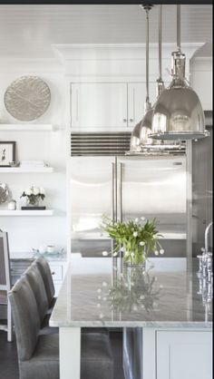Love the lights, crown molding and shelving off to the side of the kitchen for decorative items.      Dislike- that the fridge is not paneled- too many fingerprints