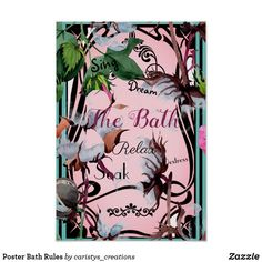 Shop Poster Bath Rules created by caristys_creations. Beach House Bathroom, Bathroom Wall Art, Beach House Decor, Spa Art, Corner Designs, French Country Decorating, Contemporary Decor, Custom Posters, Custom Framing