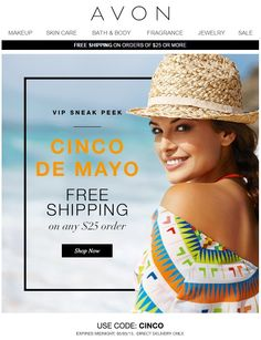 Avon Coupon Code May 2015 - Avon free shipping on $25 orders! Use coupon code: CINCO - Exp: midnight May 5, 2015 http://eseagren.avonrepresentative.com #cincodemayo #cincodemayo2015 #freeshipping #coupon #avon