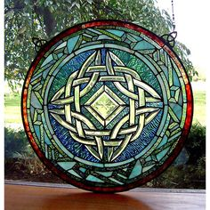 Round Celtic Knot Stained Glass Window