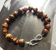 Blend of Tigers eye, czech faceted glass and aventurine gemstone bracelet for men by VieBeadsJewellery on Etsy