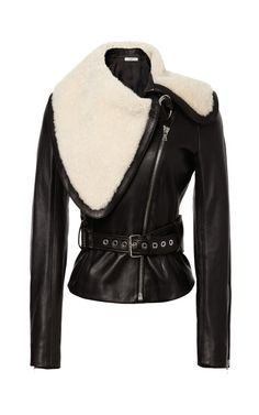 Shop Shearling-Trimmed Belted Leather Jacket by Bouchra Jarrar Now Available on Moda Operandi