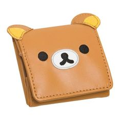 Rilakkuma Coin Case ❤ liked on Polyvore featuring bags, wallets, coin pouch, coin pouch wallet, leather change purse, real leather wallets and leather coin purse