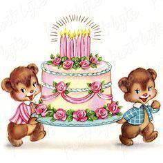 Vintage Bears Holding Cake Image Digital clip art for