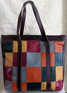 Large multi-coloured handcrafted leather purse Leather Purses, Messenger Bag, Satchel, Tote Bag, Stuff To Buy, Bags, Color, Handbags, Leather Handbags